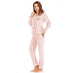 billige Moteundertøy-Dame Store størrelser Dyp V Dress Pyjamas - Stripet, Trykt mønster