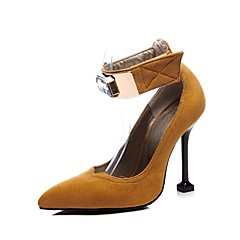cheap Women's Heels-Women's Pumps Suede Spring &  Fall Vintage Heels Stiletto Heel Pointed Toe Crystal Black / Brown / Party & Evening