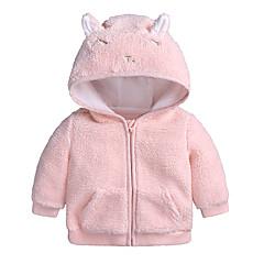billige Overtøj til babyer-Baby Pige Basale I-byen-tøj Ensfarvet Langærmet Bomuld Jakke og frakke
