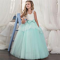 billige Prinsesse-Børn Pige Sød / Sofistikerede Ferie / I-byen-tøj Farveblok Blonder / Net Uden ærmer Maxi Kjole / Bomuld