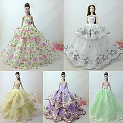 Χαμηλού Κόστους Αξεσουάρ για κούκλες-Φορέματα Φόρεμα Για Κούκλα Barbie Λευκό με αναμείξης Πράσινου Τούλι / Δαντέλα / Μείγμα Μεταξιού / Βαμβακιού Φόρεμα Για Κορίτσια κούκλα παιχνιδιών