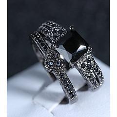 billige Motering-Dame Vintage Stil Ring Set - Fuskediamant Hjerte Kunstnerisk, Vintage 6 / 7 / 8 / 9 / 10 Svart Til Fest Maskerade / 2pcs