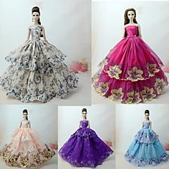Χαμηλού Κόστους Αξεσουάρ για κούκλες-Φορέματα Φόρεμα Για Κούκλα Barbie Σκούρο γκρι Συνδυασμός Τούλι / Δαντέλα / Μείγμα Μεταξιού / Βαμβακιού Φόρεμα Για Κορίτσια κούκλα παιχνιδιών