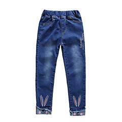 billige Jeans til piger-Børn Pige Basale Ensfarvet / Jacquard Vævning Bomuld Jeans