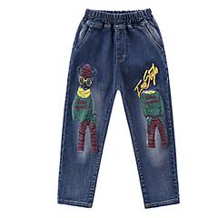 billige Drengebukser-Børn Drenge Basale Trykt mønster Bomuld Jeans