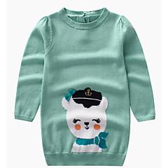 billige Sweaters og cardigans til piger-Børn Pige Basale Daglig Trykt mønster Langærmet Lang Polyester Trøje og cardigan Grøn