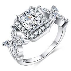 billige Motering-Dame Elegant Statement Ring Ring - Kobber, Platin Belagt, Fuskediamant Kreativ Stilfull, Oversized 6 / 7 / 8 / 9 / 10 Sølv Til Bryllup Fest