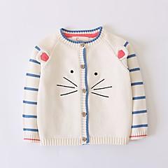 billige Sweaters og cardigans til piger-Børn Pige Kat Ensfarvet Langærmet Trøje og cardigan