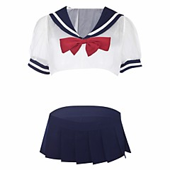 billige Moteundertøy-Dame Uniformer og kinesiske kjoler / Dress Nattøy - Fargeblokk / Lapper, Blonde / Uthult