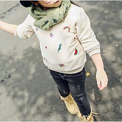 billige Hættetrøjer og sweatshirts til piger-Børn Pige Basale Trykt mønster Langærmet Bomuld Hættetrøje og sweatshirt Lyserød