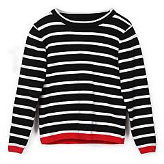billige Sweaters og cardigans til piger-Børn Pige Basale Stribet Langærmet Trøje og cardigan