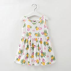 baratos Roupas de Meninas-Infantil / Bébé Para Meninas Limão Fruta Sem Manga Vestido