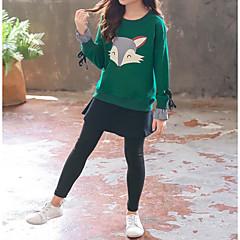 billige Tøjsæt til piger-Børn Pige Aktiv / Gade Sport Trykt mønster / Patchwork Patchwork / Trykt mønster Langærmet Bomuld Tøjsæt
