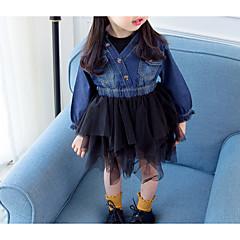 billige Babykjoler-Baby Pige Ensfarvet / Farveblok Langærmet Kjole