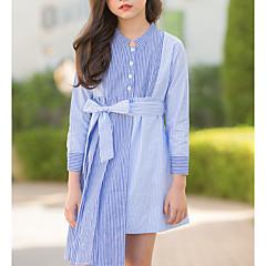 baratos Roupas de Meninas-Infantil Para Meninas Listrado / Estampa Colorida Manga Longa Vestido