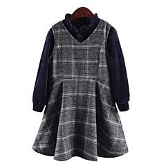 billige Tøjsæt til piger-Børn Pige Aktiv / Gade Ferie / I-byen-tøj Ternet Trykt mønster Langærmet Lang Bomuld / Polyester Tøjsæt Grå 140