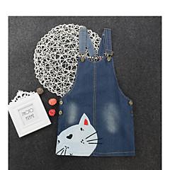 baratos Roupas de Meninas-Infantil Para Meninas Doce Diário Animal Patchwork Sem Manga Acima do Joelho Algodão Vestido Azul 100