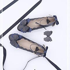 billige Lolitasko-Sweet Style Elegant Flat hæl Helfarge Sløyfeknute <1 cm CM Blæk Blå / Rød Til PU Halloween-kostymer
