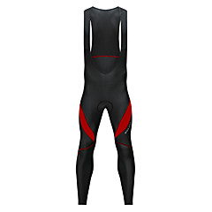 WOSAWE Men's Cycling Bib Tights Bike Bib Tights Fleece Lining, Thermal / Warm, Reflective Strips Patchwork Spandex Winter Black / White / Black / Red Advanced Mountain Cycling Relaxed Fit Bike Wear