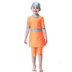 billige Badetøj til piger-Børn Pige Boheme Sport Farveblok Kort Ærme Polyester / Nylon / Spandex Badetøj Blå 140