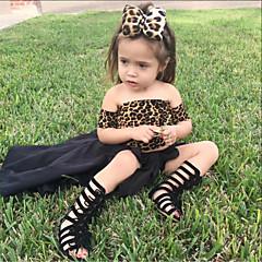 billige Tøjsæt til piger-Børn / Baby Pige Ensfarvet / Leopard Kortærmet Tøjsæt