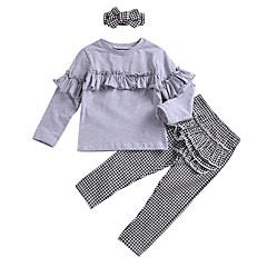billige Tøjsæt til piger-Børn Pige Sort og hvid Ruder Langærmet Tøjsæt