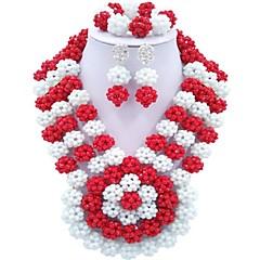 tanie Zestawy biżuterii-Damskie Warstwy materiały Biżuteria Ustaw - Moda Zawierać Naszyjnik z pasemkami Czerwony / Zielony / Mocny róż Na Impreza Codzienny
