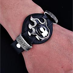 cheap Men's Bracelets-Men's Vintage Style ID Bracelet - Leather Skull Punk, Hip-Hop Bracelet Jewelry Black For Halloween Gift
