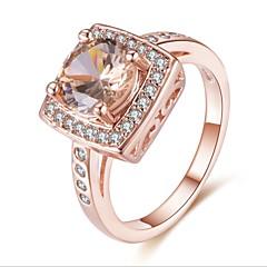 billige Motering-Dame Kubisk Zirkonium Stable Ring - Kobber, Gullplatert rose Luksus, Elegant 6 / 7 / 8 / 9 Rose Gull Til Gave