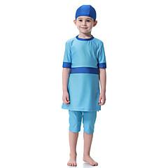 billige Badetøj til piger-Børn Pige Boheme Sport Farveblok Kort Ærme Badetøj