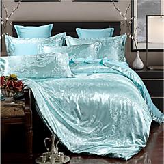 billige Hjemmetekstiler-dyne deksel sett luksus polyster jacquard 4 stk sengetøy sett / 400 / 4pcs (1 dyne deksel, 1 flat ark, 2 shams) dronning