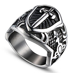 billige Motering-Herre Vintage Stil 3D Band Ring Statement Ring - Titanium Stål Kors Vintage, Punk 9 / 10 Svart Til Halloween Daglig Gate