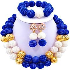 baratos Conjuntos de Bijuteria-Mulheres Camadas Conjunto de jóias - Bola Fashion Incluir Strands Necklace Vermelho / Verde / Rosa Para Casamento