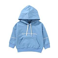 billige Hættetrøjer og sweatshirts til drenge-Børn / Baby Drenge Aktiv Daglig Trykt mønster Patchwork Langærmet Normal Bomuld Hættetrøje og sweatshirt Blå