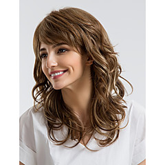 billige Lågløs-Human Hair Capless Parykker Menneskehår Krøllet Assymetrisk frisure Natural Hairline Brun Lågløs Paryk Dame Dagligdagstøj