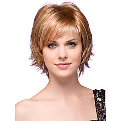 cheap Wigs & Hair Pieces-Human Hair Capless Wigs Human Hair Wavy Bob Haircut / Layered Haircut / With Bangs Side Part Short Capless Wig Women's