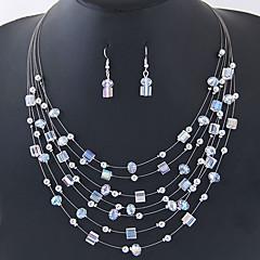 baratos Conjuntos de Bijuteria-Mulheres Camadas / Fashion Conjunto de jóias - Simples, Boêmio, Europeu Incluir Colar / Brinco Marron / Vermelho / Azul Para Diário / Festa de Noite