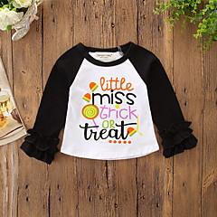 billige Babyoverdele-Baby Pige Aktiv / Basale Daglig / Ferie Trykt mønster Langærmet Normal Polyester / Spandex T-shirt Sort