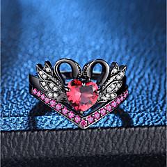 billige Motering-Dame Rød Lag-på-lag Ring Ring Set - Fuskediamant Svane, Prinsesse Romantikk, Mote, Fransk 6 / 7 / 8 / 9 / 10 Svart Til Fest Stevnemøte / 2pcs