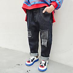 billige Jeans til drenge-Børn Drenge Aktiv Daglig Trykt mønster / Patchwork Hul / Patchwork Bomuld / Polyester Jeans Sort 100