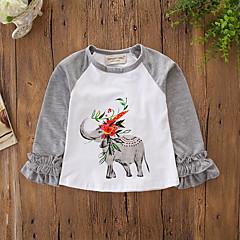 billige Babyoverdele-Baby Pige Aktiv / Basale Daglig / Ferie Trykt mønster Langærmet Normal Polyester / Spandex T-shirt Grå