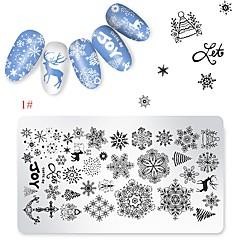 billige Neglestempling-1 pcs Stampplate Mal Tegneserie-serien Universell / resirkulerbar Neglekunst Manikyr pedikyr Tegneserie / Europeisk Jul / Daglig
