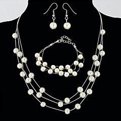 billige Smykke Sett-Dame Perle Link / Kjede Smykkesett - Perle damer, Enkel, Grunnleggende, Europeisk Inkludere Brude smykker sett Gull / Sølv Til Bryllup Fest / Øreringer