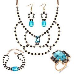 baratos Conjuntos de Bijuteria-Mulheres Corrente de Tênis Conjunto de jóias - Luxo, Europeu, Elegante Incluir Colar Brinco Anel Branco / Cinzento / Azul Para Festa Noivado