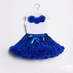billige Tøjsæt til piger-Børn / Baby Pige Aktiv / Gade Daglig / I-byen-tøj Ensfarvet / Blomstret Sløjfer / Drapering Uden ærmer Normal Bomuld / Nylon Tøjsæt Lyseblå