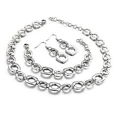 baratos Conjuntos de Bijuteria-Mulheres Conjunto de jóias - Simples, Original, Europeu Incluir Pulseiras em Correntes e Ligações Brincos Compridos Colar Prata Para Presente Diário