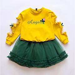 billige Tøjsæt til piger-Børn Pige Blomstret / Patchwork Langærmet Tøjsæt
