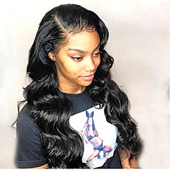 cheap Wigs & Hair Pieces-Remy Human Hair Full Lace Lace Front Wig Brazilian Hair Body Wave Deep Curly Black Wig Asymmetrical 130% 150% 180% Density with Baby Hair Women Easy dressing Best Quality Fashion Natural Black Women's