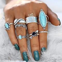 billige Motering-Dame Turkis Vintage Stil Statement Ring Knokering Ring Set - Legering Hjerte, Blomst Statement, Vintage, Bohemsk Sølv Til Gave Aftenselskap / 8pcs