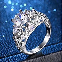 billige Motering-Dame Klar Kubisk Zirkonium Statement Ring Ring - Platin Belagt, Fuskediamant Kronblad, Flower Shape Unikt design, Romantikk, Søt 6 / 7 / 8 / 9 / 10 Sølv Til Gave Stevnemøte